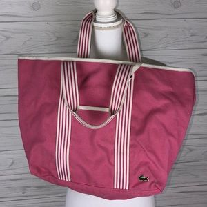 Lacoste pink canvas tote bag
